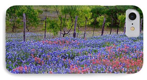 IPhone Case featuring the photograph Texas Roadside Heaven -bluebonnets Paintbrush Wildflowers Landscape by Jon Holiday
