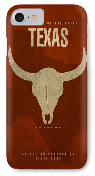 Texas State Facts Minimalist Movie Poster Art  IPhone 7 Case by Design Turnpike