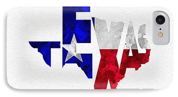Texas Typographic Map Flag IPhone Case