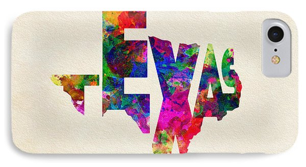 Texas Typographic Watercolor Flag IPhone Case by Ayse Deniz
