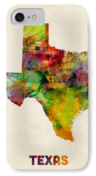 Dallas iPhone 7 Case - Texas Watercolor Map by Michael Tompsett