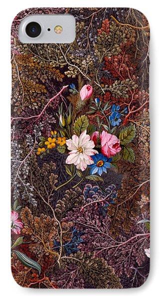 Antique Floral Textile Pattern IPhone Case by William Kilburn