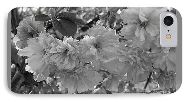 IPhone Case featuring the photograph Textured Black And White Cherry Blossoms by Gena Weiser