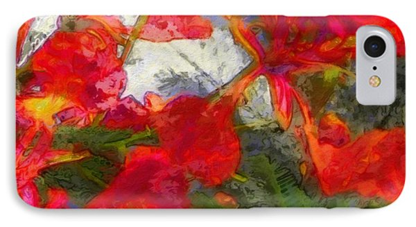 Textured Flamboyant Flowers - Square IPhone Case by Lyn Voytershark