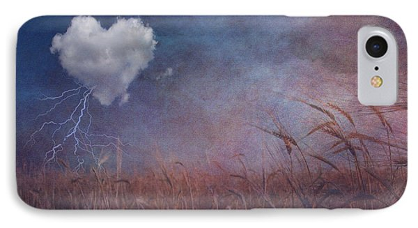 IPhone Case featuring the digital art Textured Heart Cloud And Open Field by Bruce Rolff