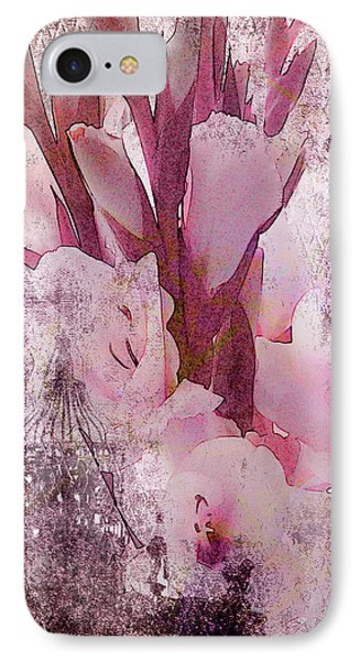 IPhone Case featuring the photograph Textured Pink Gladiolas by Sandra Foster