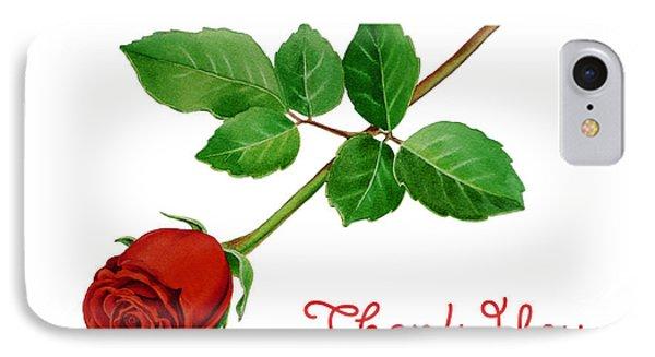 Thank You Card Red Rose IPhone Case by Irina Sztukowski