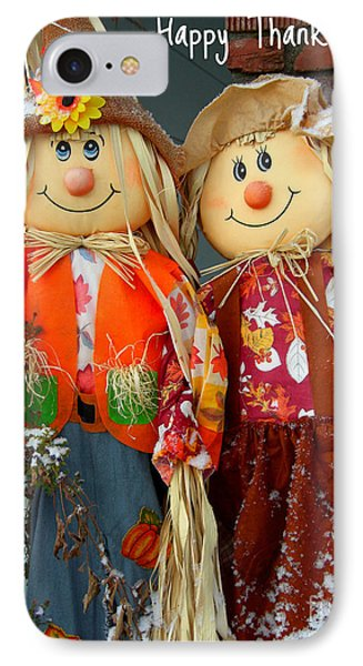IPhone Case featuring the photograph Thanksgiving Scarecrows Card by Heidi Manly