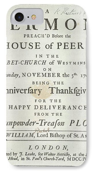 Thanksgiving Sermon IPhone Case by British Library