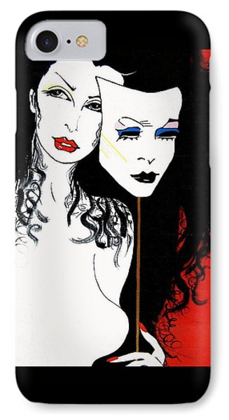 IPhone Case featuring the painting The 2 Face Girl by Nora Shepley