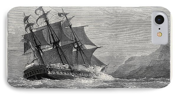The American Frigate Constitution On Shore At Swanage Point IPhone Case by English School