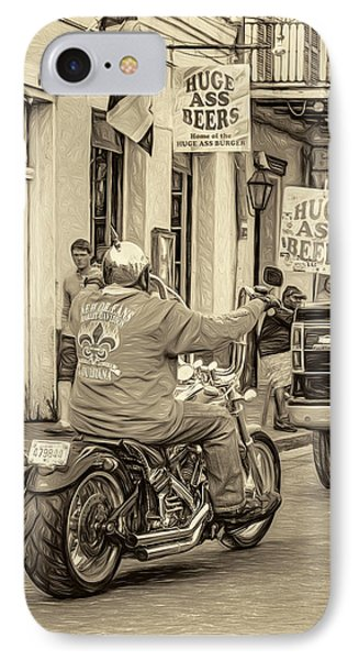 The American Way - Harleys Pickups And Huge Ass Beers - Sepia IPhone Case by Steve Harrington