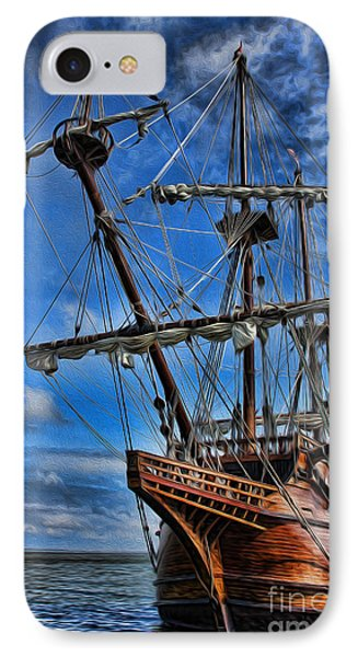 The Approaching Storm - Spanish Galleon Phone Case by Lee Dos Santos
