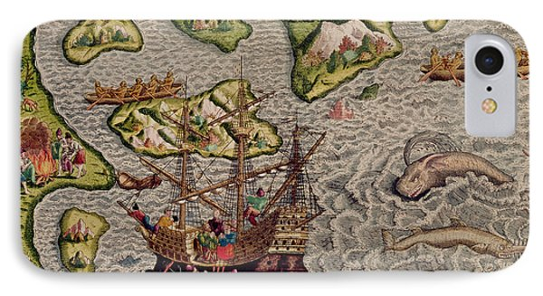 The Arrival And Disembarkation On The American Coast, From Americae Tertia Pars, 1592  IPhone Case by Theodore de Bry