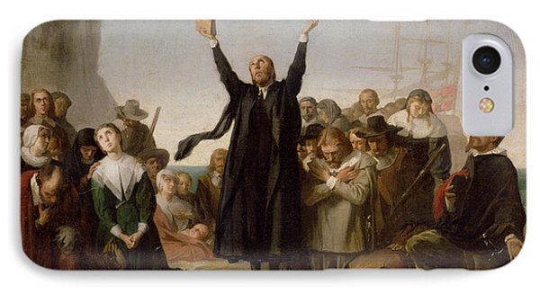 The Arrival Of The Pilgrim Fathers IPhone Case by Antonio Gisbert