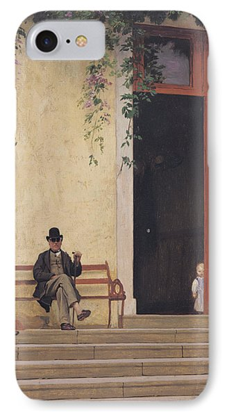 The Artist's Father And Son On The Doorstep Of His House IPhone Case