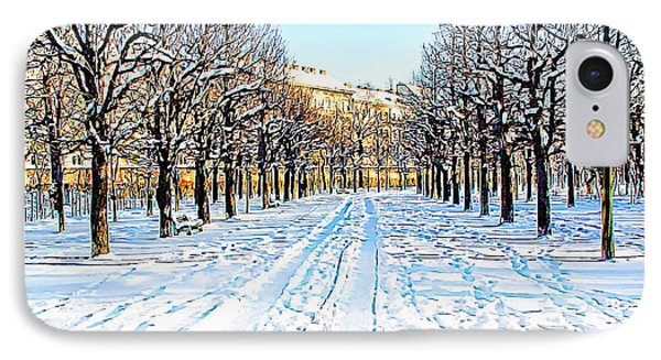 IPhone Case featuring the photograph The Augarten In The Snow by Menega Sabidussi
