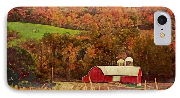 IPhone Case featuring the digital art The Autumn Barn by Lianne Schneider