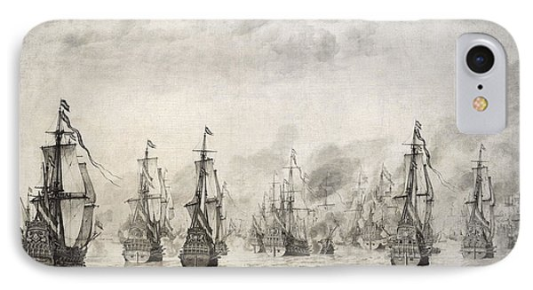 The Battle Of Dunkirk, 1659, By Willem Van De Velde I1611-1693 IPhone Case by Bridgeman Images