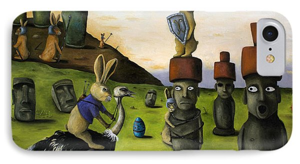 The Battle Over Easter Island IPhone Case by Leah Saulnier The Painting Maniac