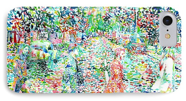 The Beatles - Abbey Road - Watercolor Painting IPhone Case by Fabrizio Cassetta