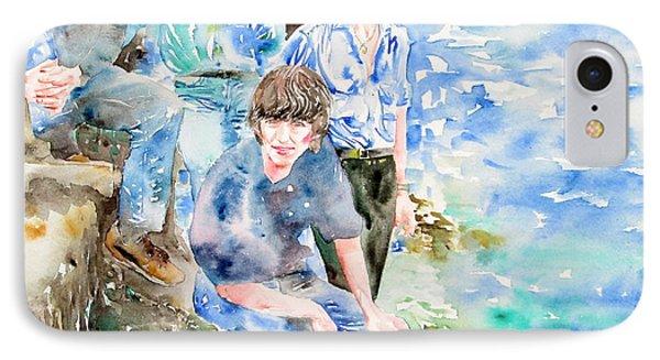 The Beatles At The Sea - Watercolor Portrait Phone Case by Fabrizio Cassetta