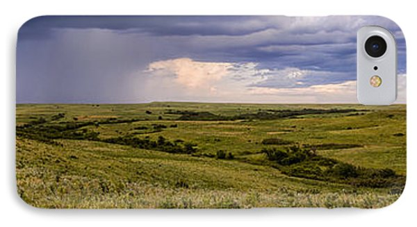 The Beginnings - Flint Hills Storm Pano IPhone Case by Scott Bean