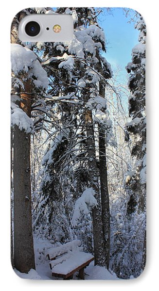 The Bench In Winter IPhone Case by Jim Sauchyn