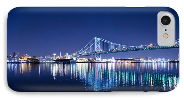 The Benjamin Franklin Bridge At Night Phone Case by Bill Cannon