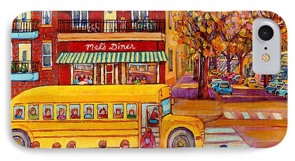 The Big Yellow School Bus Street Scene Paintings Of Montreal Phone Case by Carole Spandau