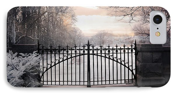The Biltmore House Gates - Biltmore Estate Mansion Gate Nature Landscape IPhone Case by Kathy Fornal