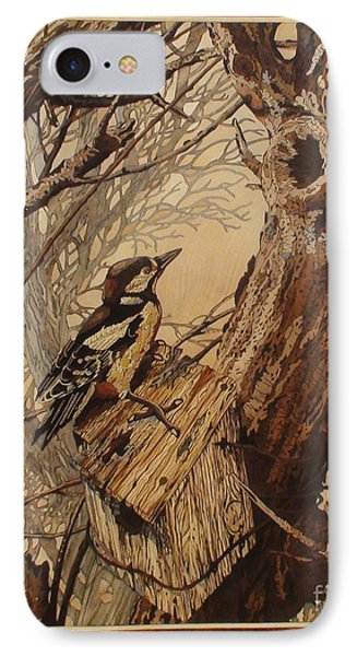 The Bird And Tree Marquetry Wood Work Phone Case by Persian Art