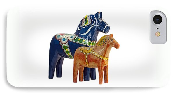 The Blue And Red Dala Horse IPhone Case by Torbjorn Swenelius