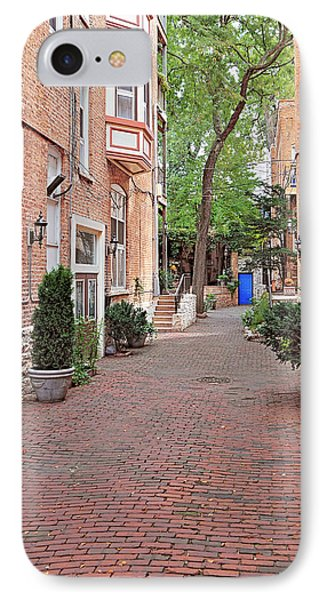 The Blue Door - Gaslight Court Chicago Old Town Phone Case by Christine Till