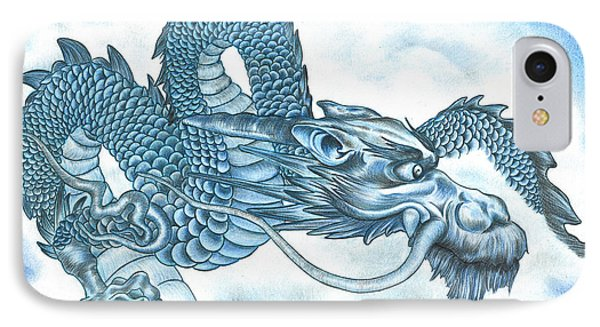 IPhone Case featuring the drawing The Blue Dragon by Troy Levesque