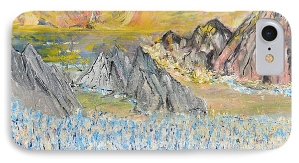 IPhone Case featuring the painting The Blue Field by Evelina Popilian