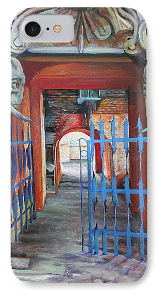 IPhone Case featuring the painting The Blue Gate by Marina Gnetetsky
