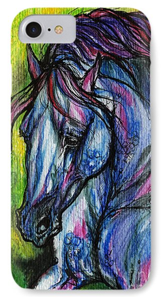 The Blue Horse On Green Background Phone Case by Angel  Tarantella
