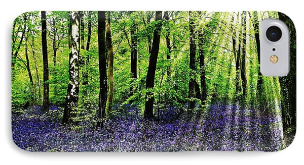 IPhone Case featuring the mixed media The Bluebell Woods by Morag Bates