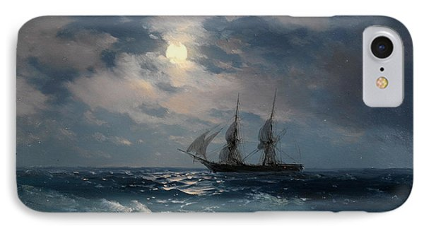 The Brig Mercury In Moonlight IPhone Case by Ivan Konstantinovich Aivazovsky