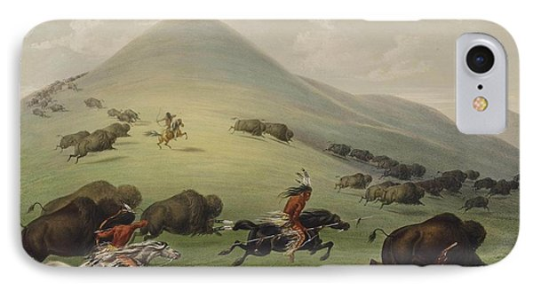 The Buffalo Hunt IPhone Case by George Catlin