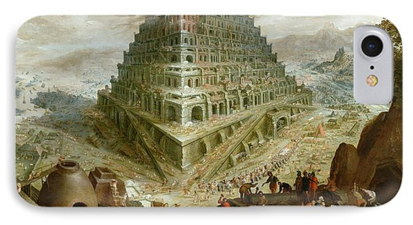 The Building Of The Tower Of Babel Phone Case by Marten van Valckenborch