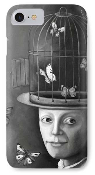 The Butterfly Keeper Bw Phone Case by Leah Saulnier The Painting Maniac