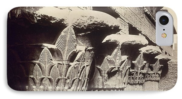 The Capitals Of The Portico Of The Temple Of Khnum In Esna IPhone Case by Francis Bedford