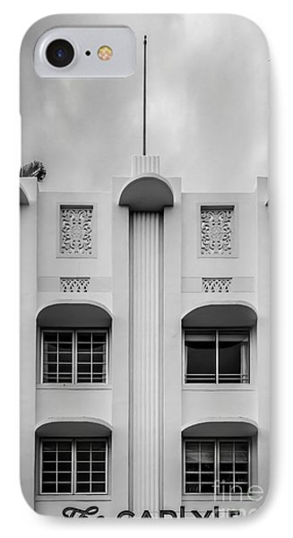 The Carlyle Art Deco Detail South Beach Miami - Black And White IPhone Case by Ian Monk