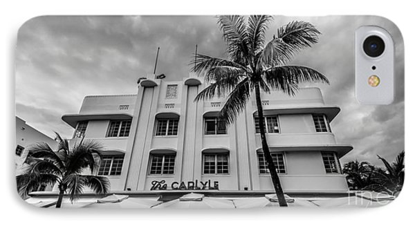 The Carlyle South Beach Miami Panoramic - Art Deco District - Black And White IPhone Case