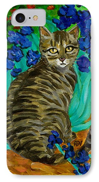 IPhone Case featuring the painting The Cat At Van Gogh's Irises Garden by Jingfen Hwu