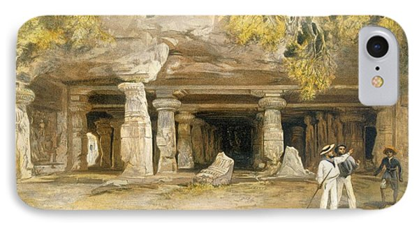 The Cave Of Elephanta, From India IPhone Case by William 'Crimea' Simpson