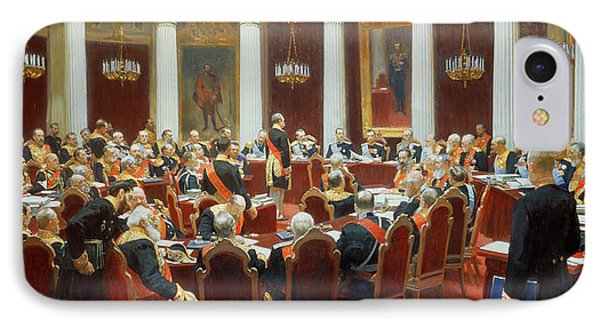 The Ceremonial Sitting Of The State Council 7th May 1901 Phone Case by Ilya Efimovich Repin