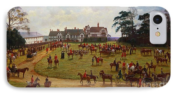 The Cheshire Hunt    The Meet At Calveley Hall  IPhone Case by George Goodwin Kilburne